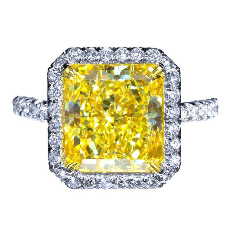 6 Carat Radiant Fancy Yellow Diamond Engagement Ring 1