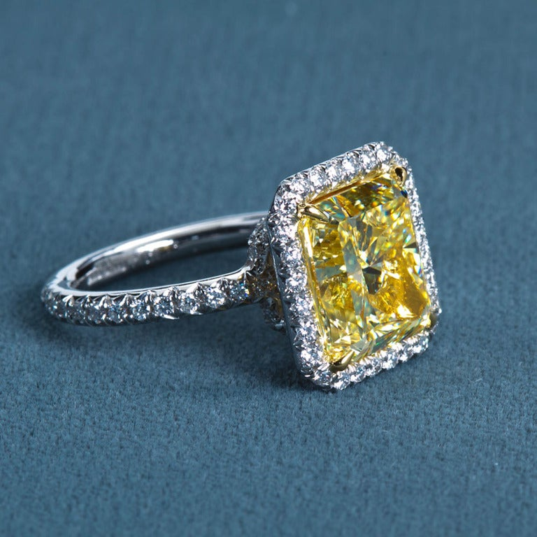 6 carat radiant fancy yellow engagement ring for