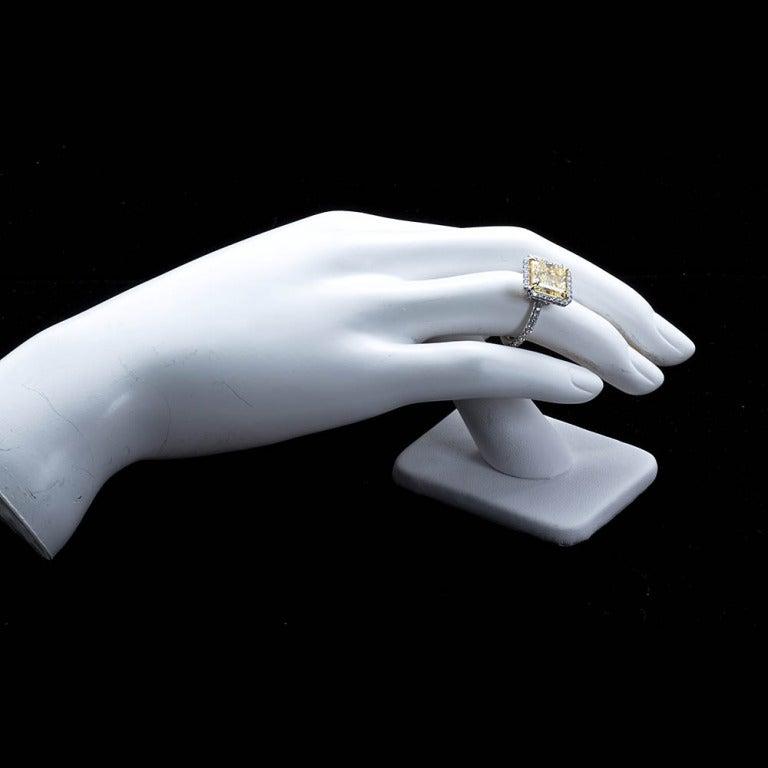 6 Carat Radiant Fancy Yellow Diamond Engagement Ring 5