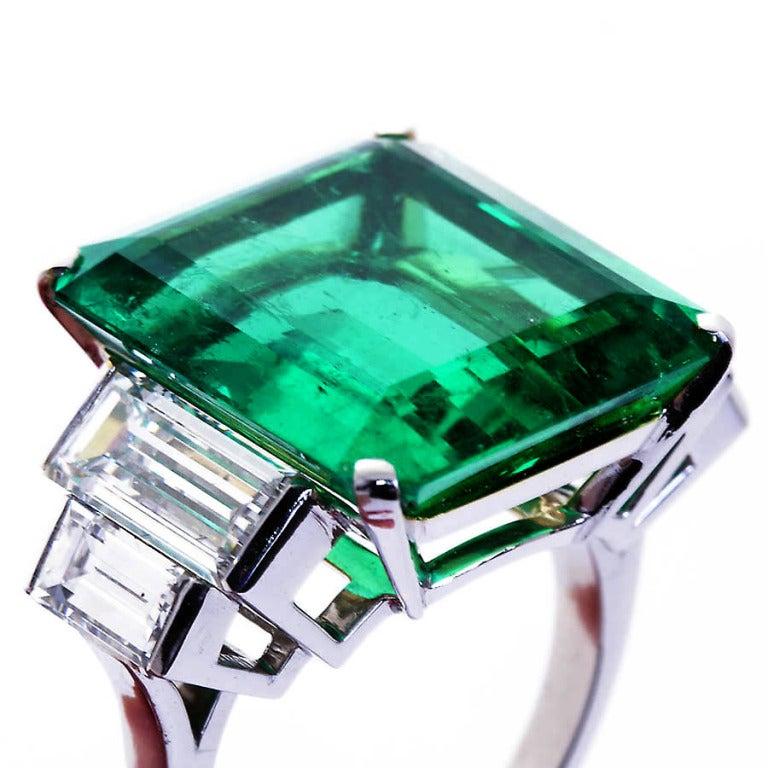 16.68 Carat Emerald Diamond Platinum Ring 3