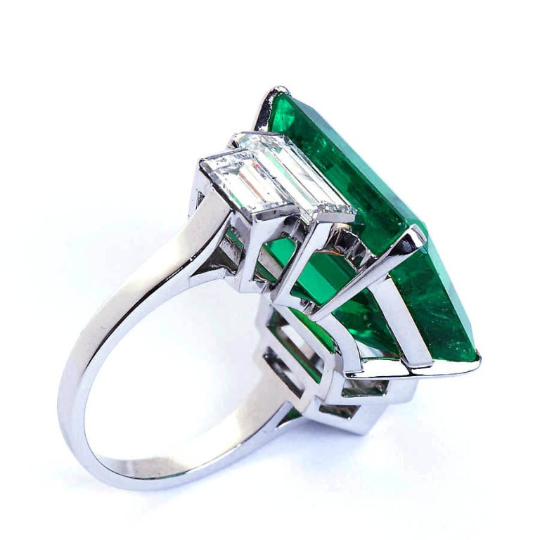 16.68 Carat Emerald Diamond Platinum Ring 4