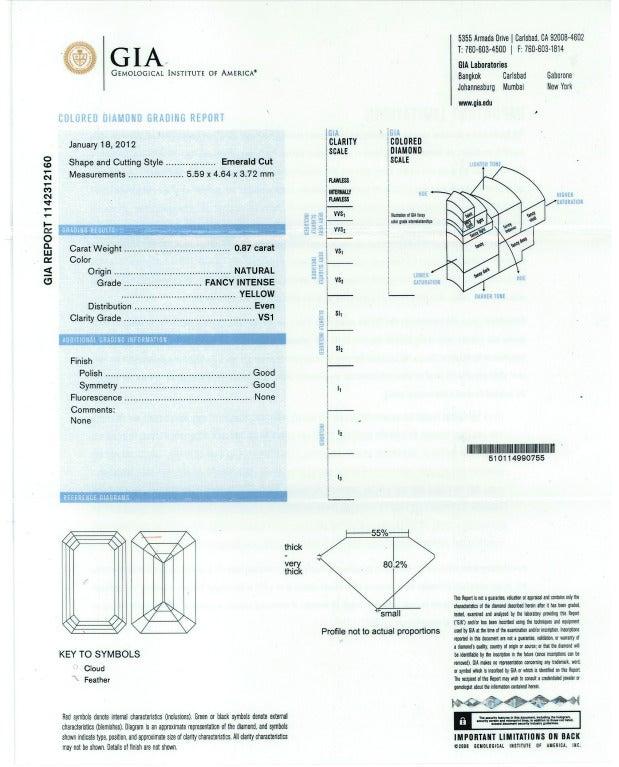 0.87 Carat Fancy Intense Yellow Emerald-Cut Diamond Gold Platinum Ring For Sale 6