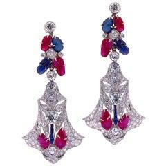Art Deco Carved Multi Gem Dangle Earrings