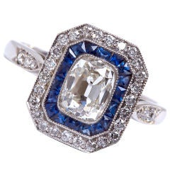 Art Deco Cushion Diamond with Sapphire Ring