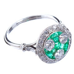Art Deco Three-Stone Diamond Emerald Ring