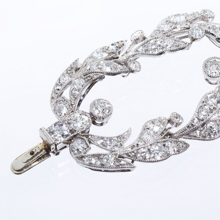 Belle Époque Belle Epoque CARTIER Paris Diamond Platinum Garland Bracelet For Sale