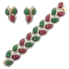 Emerald Ruby Diamond Red Green Suite Bracelet and Earrings