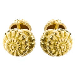 David Webb Gold Shell Cufflinks