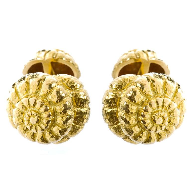 David Webb Gold Shell Cufflinks