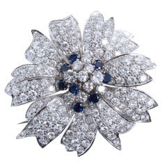 Magnificent Diamond Sapphire Floral Blossom Brooch