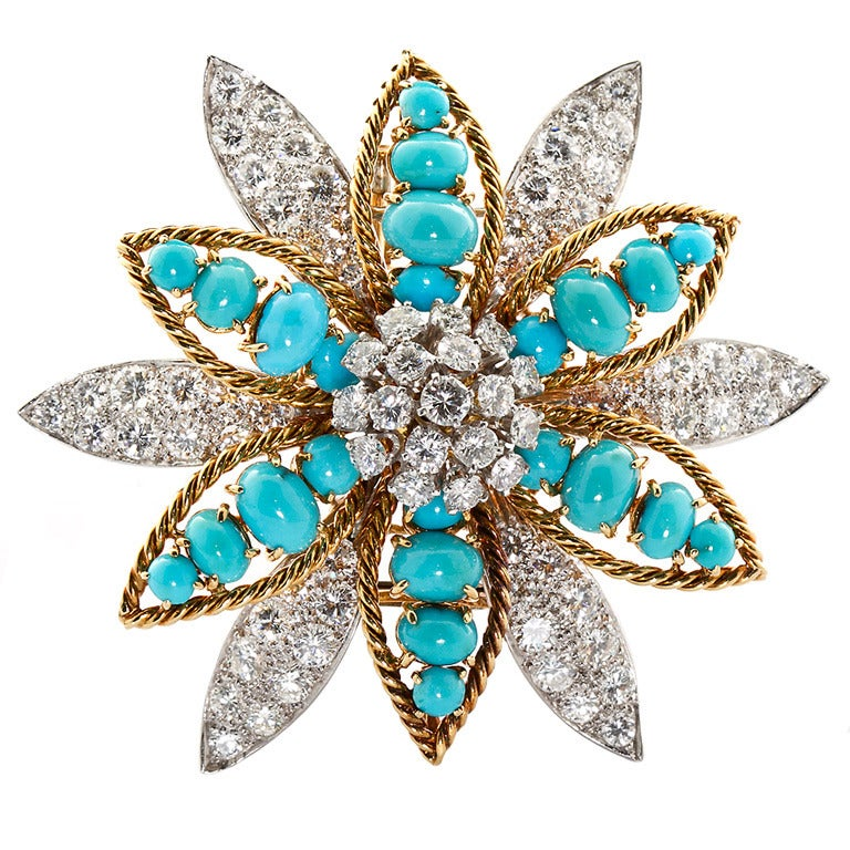 David Webb Turquoise Diamond Gold Platinum Flower Brooch