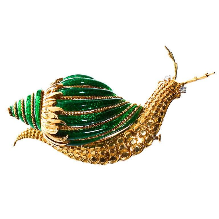 David Webb Paillonne Green Enamel Snail Brooch
