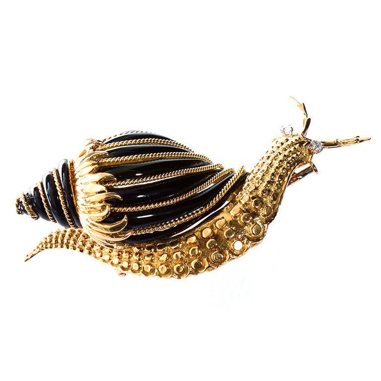 David Webb Black Enamel Snail Brooch For Sale