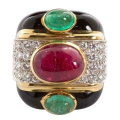 Original David Webb Enamel Emerald Ruby Diamond Ring