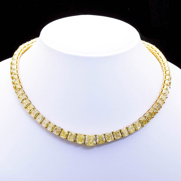 Contemporary 100 Carat Grand Fancy Yellow Diamond Necklace For Sale