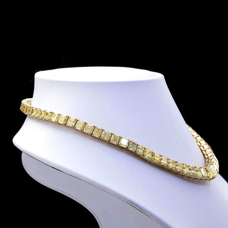 100 Carat Grand Fancy Yellow Diamond Necklace 4