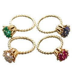 Vintage Diamond and Gems Ring Quartet