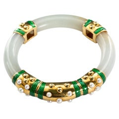 David Webb Carved Jade Bangle