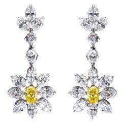 Fancy Intense Yellow Diamond Dangle Flower Earrings