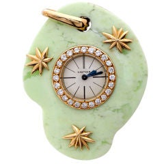 Cartier Paris Edmond Jaeger Yellow Gold Jade Art Deco Pendant Watch