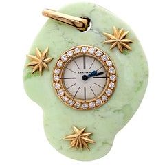 Cartier Paris Rare Art Deco Jade Pocket Watch Pendant by Edmond Jaeger