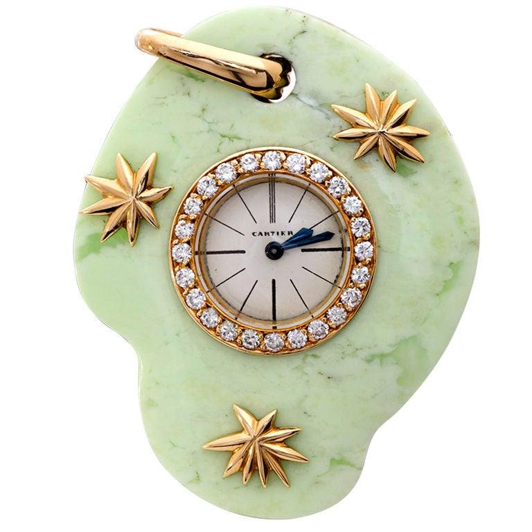 Cartier Paris Rare Art Deco Jade Pocket Watch Pendant by Edmond Jaeger For Sale