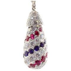 Oscar Heyman Ruby Sapphire Diamond Platinum Pendant Ornament