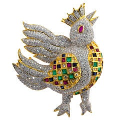 """Whimsical diamond and multi color """"the bird king"""" brooch"""