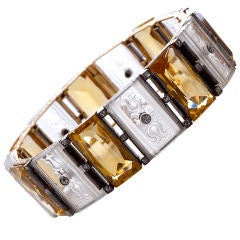 Art Deco Austrian Crystal and Citirine Bracelet
