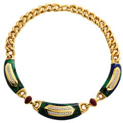 David Webb Malachite Ruby Diamond Gold Chain Necklace