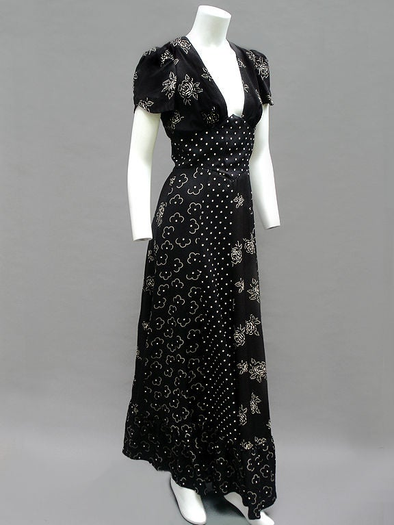 70s Does 30s Black And White Tea Dress At 1stdibs