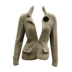 70s Adolfo Herringbone Wool Jacket