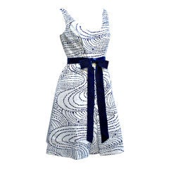 60s Ceil Chapman Blue and White Dress