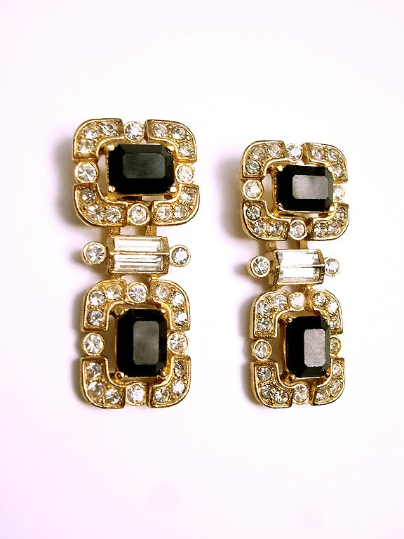 70s givenchy rhinestone and gold earrings at 1stdibs