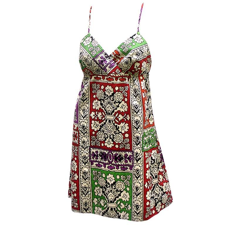 70s I Magnin India Print Mini Dress At 1stdibs