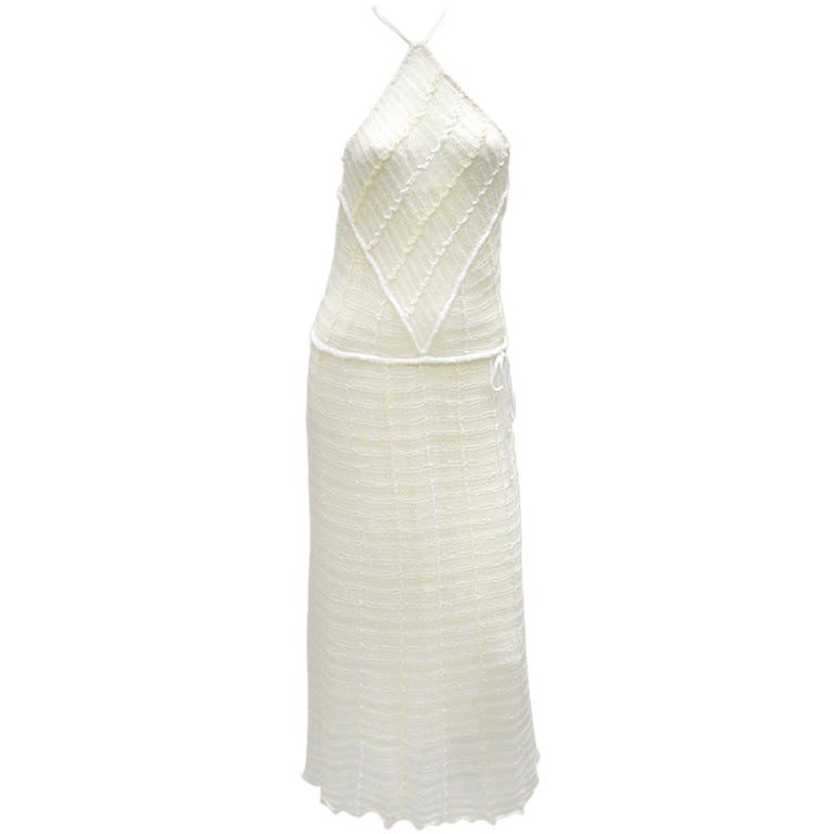 70s Mary Farrin Knit Halter Dress At 1stdibs