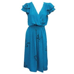 70S FLORA KUNG BLUE SILK WRAP DRESS