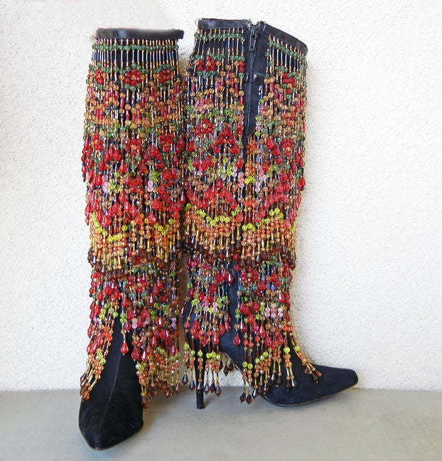 Artist/fashion designer Todd Oldham vintage black suede boots heavily adorned with multi-color beads throughout.  Lined in very soft leather.<br /> 4
