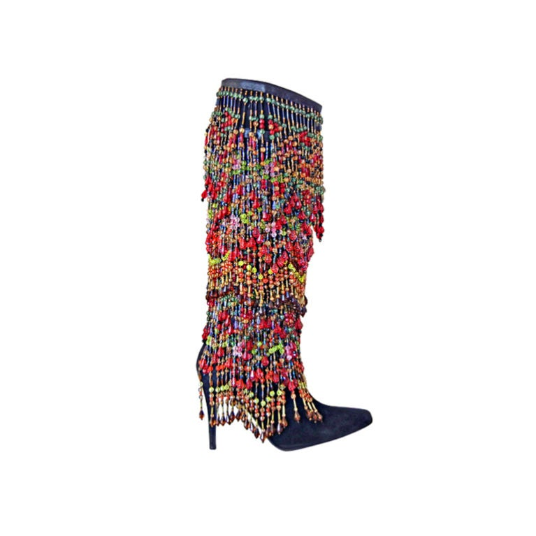 VINTAGE TODD OLDHAM OVER-THE-TOP HEAVILY BEADED BOOTS