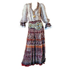 Oscar De La Renta High Fashion Runway Boho Peasant Blouse and Skirt
