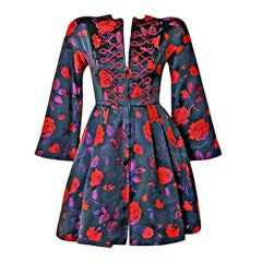 1980's CHRISTIAN LACROIX ASIAN INSPIRED FLORAL BROCADE MINI DRES