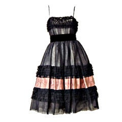 MAGGY ROUFF FRENCH CHANTILLY LACE ELEGANT EVENING DRESS