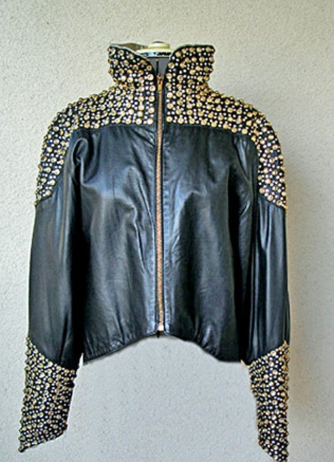 Fernando Sanchez 80's Crystal Grommet Bomber Jacket As Seen in Vogue In Excellent Condition In Los Angeles, CA