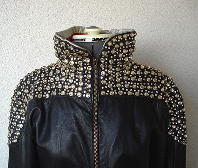 Women's Fernando Sanchez 80's Crystal Grommet Bomber Jacket As Seen in Vogue