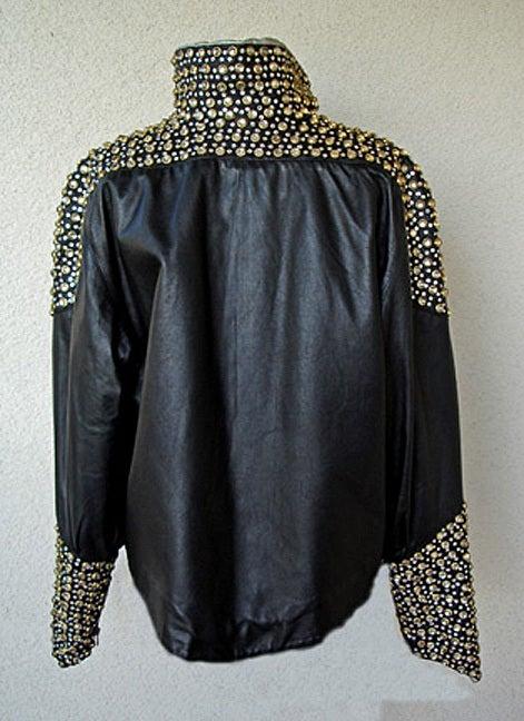 Fernando Sanchez 80's Crystal Grommet Bomber Jacket As Seen in Vogue 2