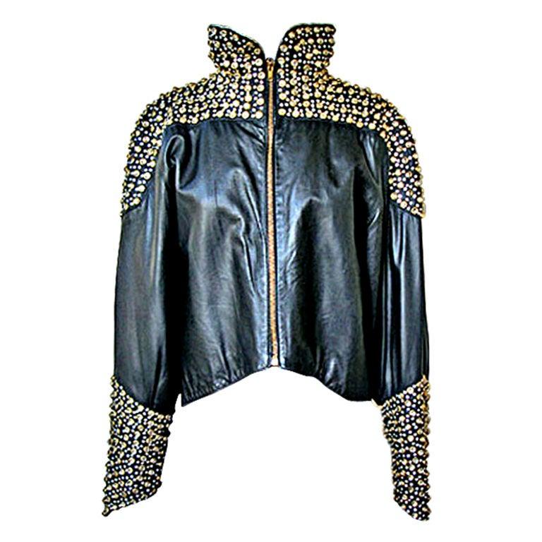 Fernando Sanchez 80's Crystal Grommet Bomber Jacket As Seen in Vogue