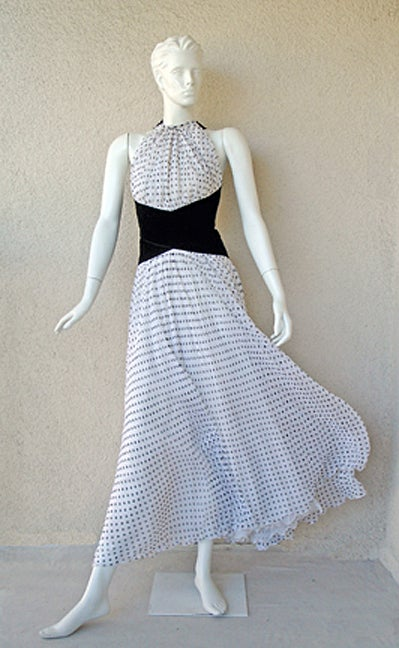 Gray Divine Jacqueline de Ribes Parisian Polkadot Silk Evening Dress For Sale