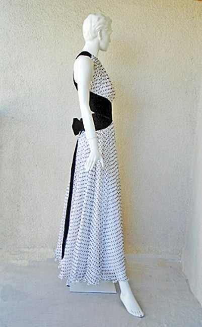 Divine Jacqueline de Ribes Parisian Polkadot Silk Evening Dress In Excellent Condition For Sale In Los Angeles, CA