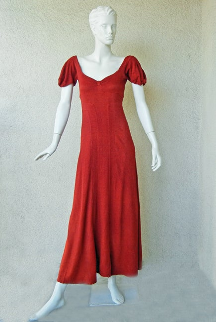 CHANEL 1930s COUTURE BIAS CUT RED EVENING DRESS image 2