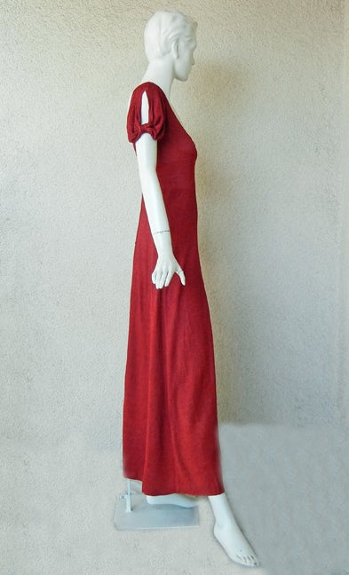 CHANEL 1930s COUTURE BIAS CUT RED EVENING DRESS image 4
